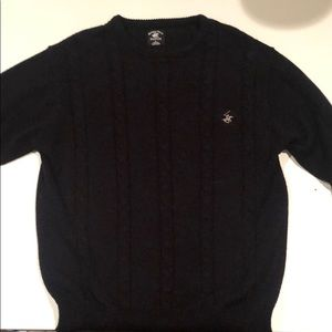 Beverly Hills polo club black cable knit sweater